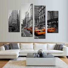 New York City Yellow Cabs 4 Panel Canvas Print Wall Art Home Decor
