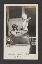 BABY & PUPPY DOG IN SUIT/TRAVEL CASE OLD/VINTAGE PHOTO SNAPSHOT- X414