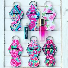 SET SIX ESSENTIAL OIL ROLLER BOTTLE LIP GLOSS TRAVEL KEYCHAIN CASES LILLY FLORAL