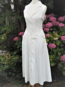 Vintage 1980s 80s White Polycotton Fit & Flare Backless Midi Sun Dress Size 8