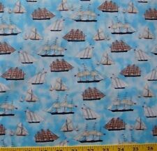 Sailing Curries Ives Sailboat Cotton Fabric By The Yard From Quilting Treasures