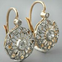 14K White Gold FN 2.10 CT Round Diamond Lever Back Filigree Earrings 925 Silver