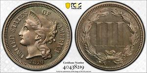 M13156- 1870 PROOF THREE CENT NICKEL PCGS PR63