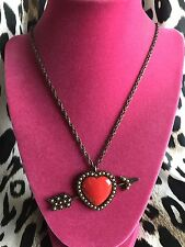 Betsey Johnson Vintage Red Lucite Pearl Cupid Heart Arrow Bronze Necklace