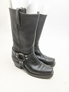 Frye Black Leather 12 R Harness Boots Sz 7.5