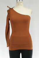 New Free People Womens One Shoulder Long Sleeve Ribbed Seamless Top Copper $48