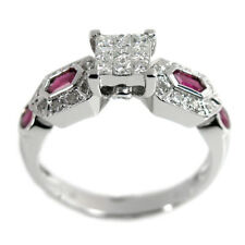 De Buman 0.656ct Diamond & Ruby Wedding Ring in 14K White Gold, Size 7.25