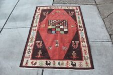 """Antique Wool Tribal Rug Tribal Figures Shapes Colorful 47"""" X 71"""" Rectangular"""