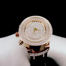 Men's 14k Rose Gold Finish Lab Diamond Iced Out Silicon Strap Jojo Jojino Watch
