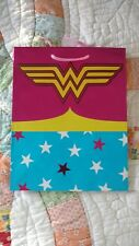 Dc Comics Wonder Woman Pink Gift Bag 9.5 x 7.5 With Handle New Free Shipping!
