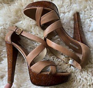 Miu Miu Brown Leather Strappy Sandals High Heel Size 38.5 (uk 5.5)
