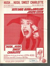 Hush Hush Sweet Charlotte Bette Davis Olivia De Haviland 1965  Sheet Music