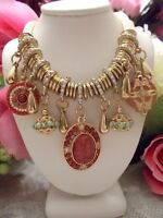 BETSEY JOHNSON BOHO TIBETAN STYLE ROSE RED BEADS CRYSTAL STONE CHARMED NECKLACE
