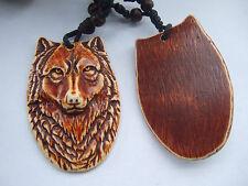 1pcs Yak Bone Powder Resin Wolf Face Head Pendant Necklace Adjustable
