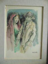 """Domenico PURIFICATO; """"Coppia""""; 1979, tecnica mista su carta; 35x25"""