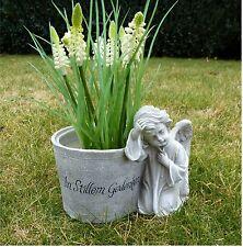 Blumentopf mit Engel / Grabschmuck Grabdeko *In Stillem Gedenken* beige-antik