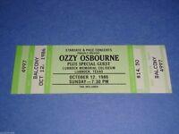 OZZY OSBOURNE UNUSED 1986 CONCERT TICKET LUBBOCK COLISEUM TX Black Sabbath USA