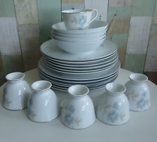 Pretty Vintage Fine China Part Dinner Set x 22 Pcs *Blue Roses *Made in Japan