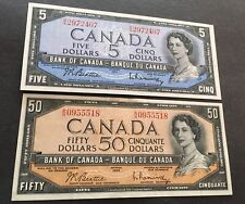 1954 $50 and $5 BANKNOTES in very nice condition