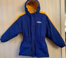 Fila Boys Blue & Yellow THICK Parka Ski Jacket Size Medium EXCELLENT Pre-Owned