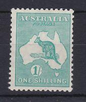 K810) Australia 1929 1/- Blue-green Kangaroo small multiple watermark BW 34
