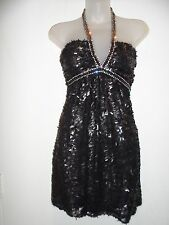 Sky Brand XS Dress RHINESTONE CRYSTALS Sequin Black Halter Summer Vegas Club EUC