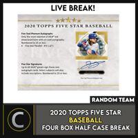 2020 TOPPS 5 STAR BASEBALL 4 BOX (HALF CASE) BREAK #A928 - RANDOM TEAMS