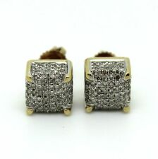14 Carat Excellent Cut Yellow Gold Fine Diamond Earrings