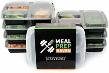 Meal Prep Haven Three Compartment Food Containers with Lids - 14 Pack