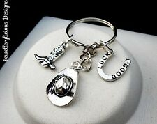 Silver Cowboy Cowgirl Hat Boot Good Luck Horse Shoe Country Rodeo Keyring