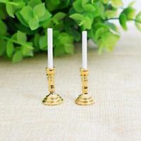 DIY Mini Gold Candlesticks White Candles Doll House Miniature 1 Pair Decor 1:12