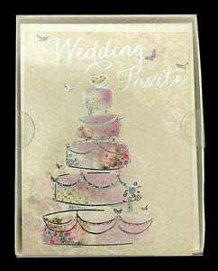 10 x Wedding & Reception Invitations Invites Tiered Cake inc. Silver Envelopes