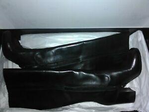 Via Spiga Womens Knee High Boots Black leather size EU 37 US 7 new designer