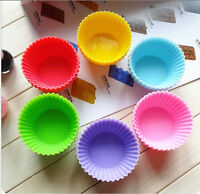 10X Soft Silicone Round Cake Muffin Chocolate Cupcake Liner Baking Cup Mold