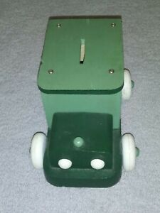 GREEN ARMY WOODEN VEHICLE BANK