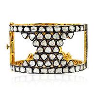 18k Gold Uncut Diamond 925 Silver Designer Bangle Bracelet Ethnic Jewelry