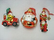 SET 3 GLASS ? CHRISTMAS ORNAMENT SANTA FIRE CHIEF ENGINE FIGHTERS FIRE HYDRANT