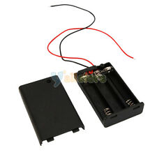 """Lot 2X New 3 AAA/3A Battery 4.5V Plastic Holder Box Case 7""""Leads On/Off Switch"""