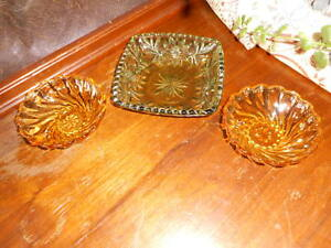 Vintage Amber Green Glass Dishes Misc Lot of 3 Formal Holiday Dinnerware nuts