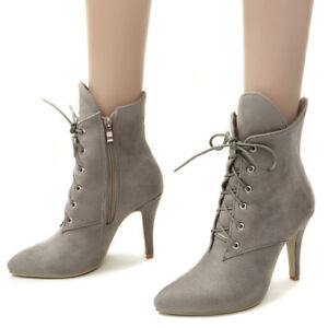 Womens Suede Ankle Boots Lace Up High Stiletto Heels Zip Pointy Toe Booties Shoe