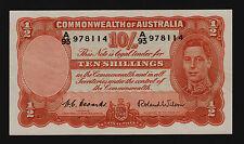 Ten Shillings Australian Banknote 1952 Coombs Wilson R15 A/93