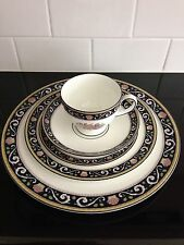 Lot of 3 Wedgewood Runnymede Dark Blue Bone China Five-Piece Place Settings