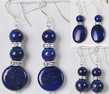 Natural Egyptian Lapis Lazuli Beads Gemstones/Silver Hook Dangle earrings AAA