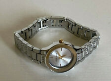 NEW! ANNE KLEIN SWAROVSKI CRYSTALS TWO-TONE SILVER GOLD BRACELET WATCH $85 SALE