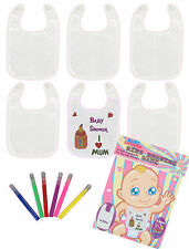 Baby Shower Mum to Be Fun Game Party Accessory Bibs Drawing Game 6 Bibs & Pens