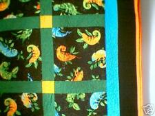 Handmade Patchwork Gecko iguana lizard quilt green yellow orange black full size