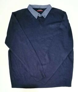 Pierre Cardin Men's pullover shirt size 2XL blue button down collar top EUC