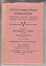 1958 AUCTION CATALOG - XVIII CENTURY FRENCH FURNITURE - PARKE-BERNET GALLERIES