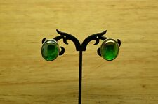 925 STERLING SILVER OVAL DICHROIC GLASS BUTTERFLY CLASP EARRINGS #X25868