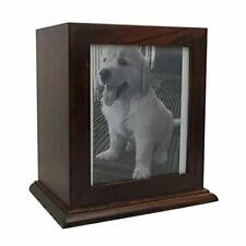 Pet Wood Memorial Urn for Ashes,Photo Frame Keepsake Box for Cats Dogs,Funerary